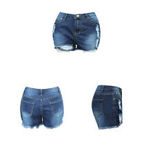 Ripped hole Women Denim shorts  Ladies denim shorts Fringe Blue Apparel
