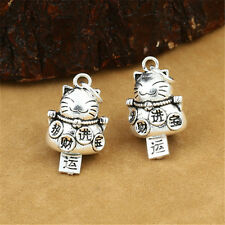 2 Sterling Silver Good Luck Fortune Cat Bell Charms Pendants Lucky Jingle Bells
