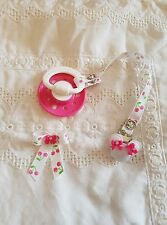REBORN BABY DOLL~WHITE & HOT PINK ~ MAGNETIC ~DUMMY CLIP ~HAIR BOW