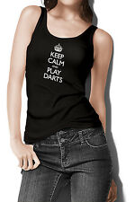 Women's Keep Calm And Play Darts Tank Top Dart Player Team League Shirt FREE S&H