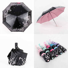 Anti-UV Sun Rain Umbrella Parasols Automatic Windproof Compact Floral 3 Folding