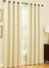 Blackout Thermal Curtain Drape Solid Lined Window Grommet IVORY BEIGE 2 Panel