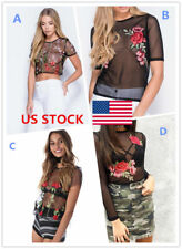 US Women Celeb See-through Sheer Mesh Embroidery Tops Blouse Shirts Tee 4 Types