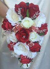 WEDDING FLOWERS BOUQUETS & BUTTONHOLES RED/IVORY SILK ROSES BRIDES, BRIDESMAIDS