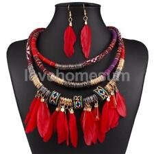 Luxury Feather Choker Bib Statement Collar Necklace And Earrings Jewelry Set
