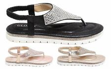 New Womens Slip On Diamante Casual Sling Back Strap Flat Sandals Shoes