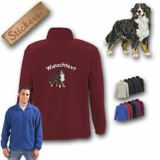Cosy Fleece Jacket Embroidery Back Embroidery Dog Bernese Mountain Dog 2 +Name