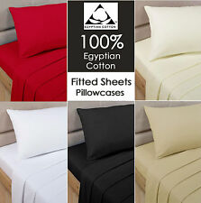Luxury 100% Egyptian Cotton Fitted Sheet 40cm Extra Deep or Flat Sheet all Sizes