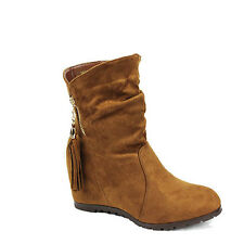 WOMENS LADIES CASUAL CONCEALED WEDGES TASSEL SLOUCH ANKLE BOOTS SHOES SIZE 3-8