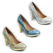 WOMENS LADIES PLATFORM PROM PARTY HIGH STILETTO HEELS COURT SHOES SIZE 3-8
