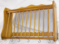 Wall Mounted Solid Pine Plate Rack Shelf Kitchen Storage Country Farmhouse