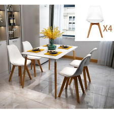 Modern Wood Legs Dining Table Set 4 White Chairs Dinner Kitchen Dinette Room US