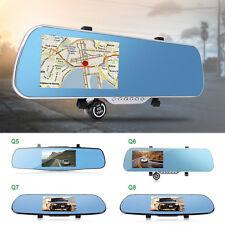 "5"" WiFi Car GPS Navigation 1080P HD DVR Camera + Rear View Mirror Quad-Core"