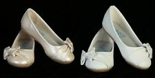 Girls WHITE or IVORY Dress Shoes Flats Side Bow Infant Toddler Size 5T-4 Youth