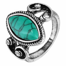 Jewelry 925 Silver Natural Turquoise Stone Prom Vintage Ring Women men Size 6-10