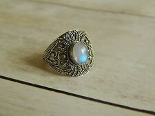 Rainbow Moonstone Ring Bohemian Style Rainbow Moonstone Ring Statement Ring