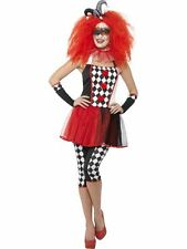 Womens Ladies Harlequin Jester Clown Halloween Fancy Dress Costume Outfit