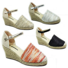 WOMENS LADIES PLATFORM WEDGE HEEL ANKLE STRAP ESPADRILLES SANDALS SIZE 3-7