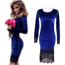 Slim Fashion Party Dresses Velvet Sexy Sheath Long Sleeve Hot Women Lace