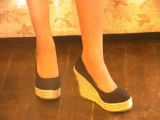 BNWT LADIES BLACK HIGH HEELED WEDGE COURT SHOES IN SIZES 3 & 4