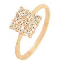 Noble 9K Rose Gold Filled Flawless Cubic Zirconia Womens Ring Size 6 7 8 9