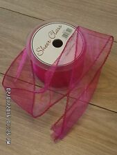 50mm Wide Sheer Organza - Snow Sheer Ribbon With Wired Edge x 20 metres Fuchsia.