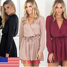 US Women Lady Long Sleeve V-Neck Loose Playsuit Bodycon Jumpsuit Chiffon Rompers