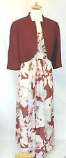 New Jacques Vert Maxi Floral Dress & Bolero 12 Jacket Cranberry Cream Bloom £308