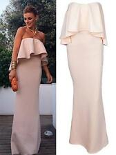 Beige Strapless Asymmetric Ruffle Folded Sheath Evening Gown Maxi Dress Chic NWT