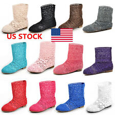 US Women Flats Sandals Hollow Out Shoes Knitted Boots Mid-Calf Boots Size 5-8