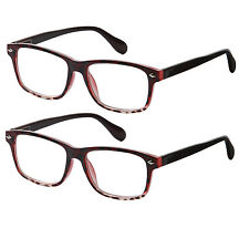 2 Pair Spring Hinge Tortoise Red Reading Glasses Clear Lens Strength Women Pack