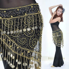 Womens Belly Dance Gold Coins Costume Hip Scarf Tribal Egyptian Coin Belt Skirt