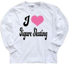 Inktastic I Love Figure Skating Youth Long Sleeve T-Shirt Ice Skater Sports Tee