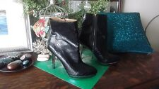 CHRISTIAN SIRIANO Payless Black Faux Snakeskin Ankle Boots 4