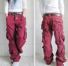 womens  Dance Pocket Long Loose Cotton Casual Combat Pants Workwear Trousers #
