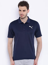 PUMA Men's Navy Blue Polyester Polo T-shirt