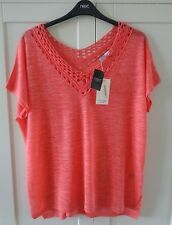 NEXT Ladies Crochet Coral Pink Linen Mix Tunic Top  Size 20  BNWT rrp £24