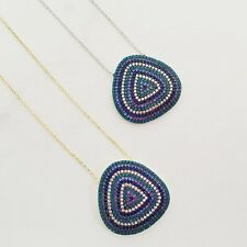 925 Sterling Silver Gold Cubic Zirconia CZ Turquoise Blue Evil Eye Mati Necklace