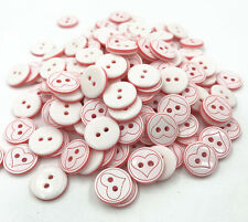 Round Resin buttons Red heart Pattern Fit sewing Scrapbooking Crafts 13mm
