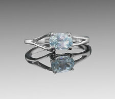 925 Sterling Silver Ring with Oval Cut Sky Natural Blue Topaz Gemstone Handmade.
