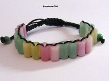NATURAL Jade Carved BAMBOO Chinese Lucky FENG SHUI Bracelet - GREEN thread
