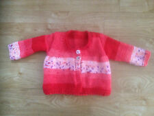 Hand Knitted Red Flower Baby Cardigan BNWT 0-6/ 6-12 Months 1-2 Years 2-3 Years