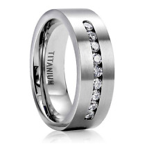 8MM Wide 316L Stainless Steel Titanium Wedding Engagement Band Ring Size 6-13