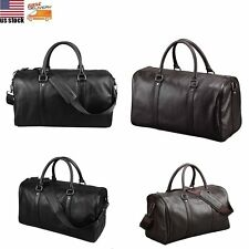 Men Genuine Leather Bag Overnight Tote Travel Duffle Weekend Gym Luggage Handbag