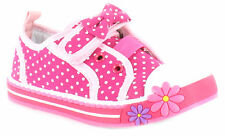Kids Childrens Girls Canvas Casual Shoes Pumps Trainers Touch Fasten Plimsoles
