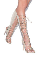 """SHOE DAZZLE FAUX LEATHER/SUEDE 4.5"""" HEELED GLADIATOR FRONT LACEUP $52 SHIPS FREE"""