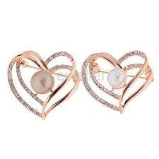 Wedding Bridal Rhinestone Crystal Faux Pearl Love Heart Broach Brooch Pin Mother