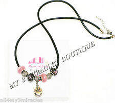 FOLLOW YOUR DREAMS Necklace Leather European Style Pink Graduation Christmas