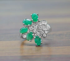 925 Sterling Silver Ring with Oval Cut Green Emerald Gemstone handcrafted India.