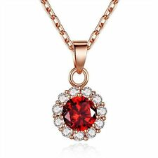 5 Color Gold Plated Circle Flower Crystal Women Girls Pendant Necklace